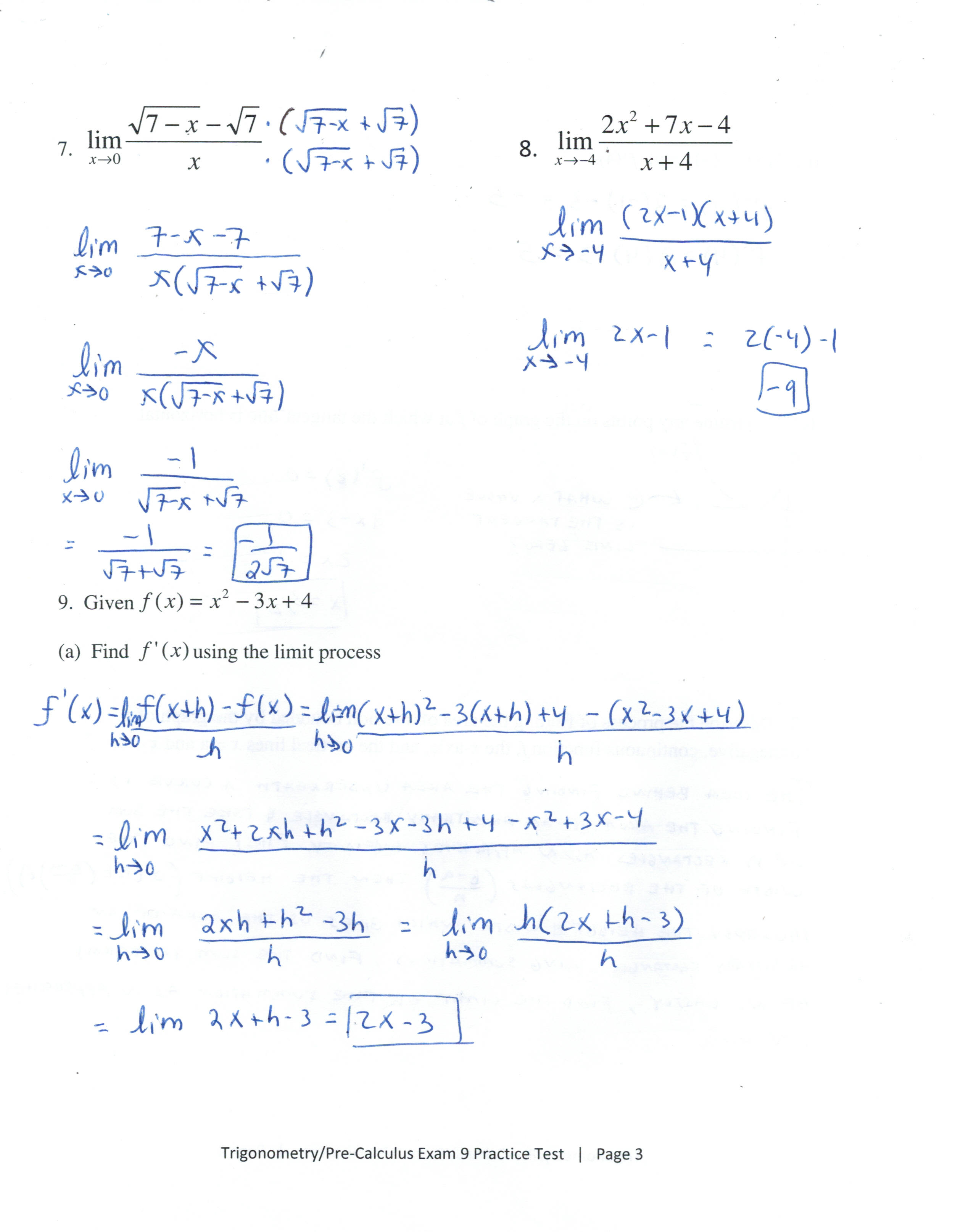 Chapter 11 Limits and an Introduction to Calculus - crunchy math